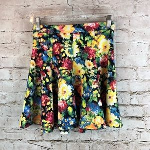Women's Lush Yellow Floral Skirt size XS